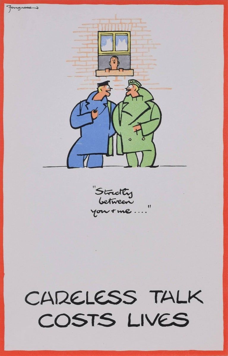 Fougasse Cyril Kenneth Bird Careless Talk Costs Lives Fougasse Cyril Kenneth Bird World War 2 Poster Careless Life Dig For Victory