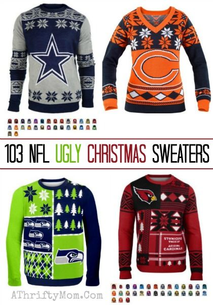 ugly Christmas sweater NFL sports teams, football ugly sweater gag ...