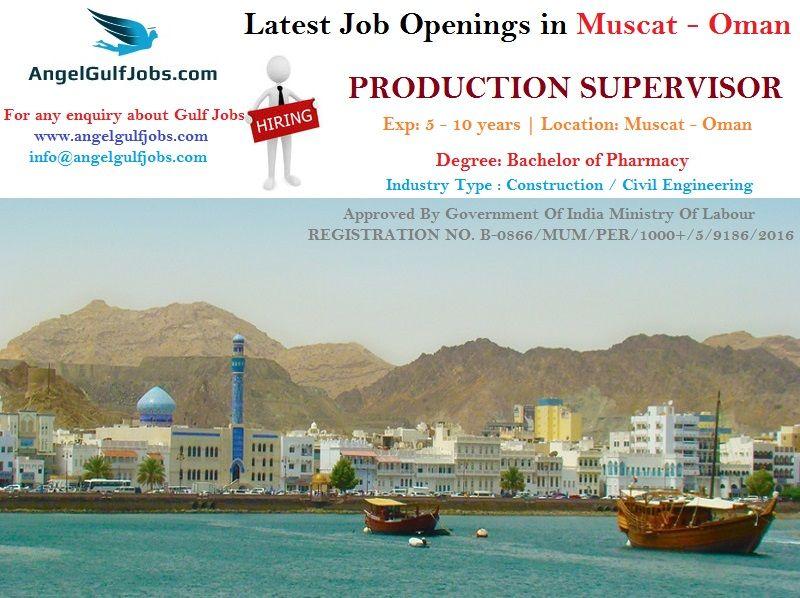 Latestjobopenings In Muscat Oman Jobsinmuscatforfreshers Careers Jobs Angelgulfjobs Position Production Supervisor Exp Overseas Jobs Job Opening Job