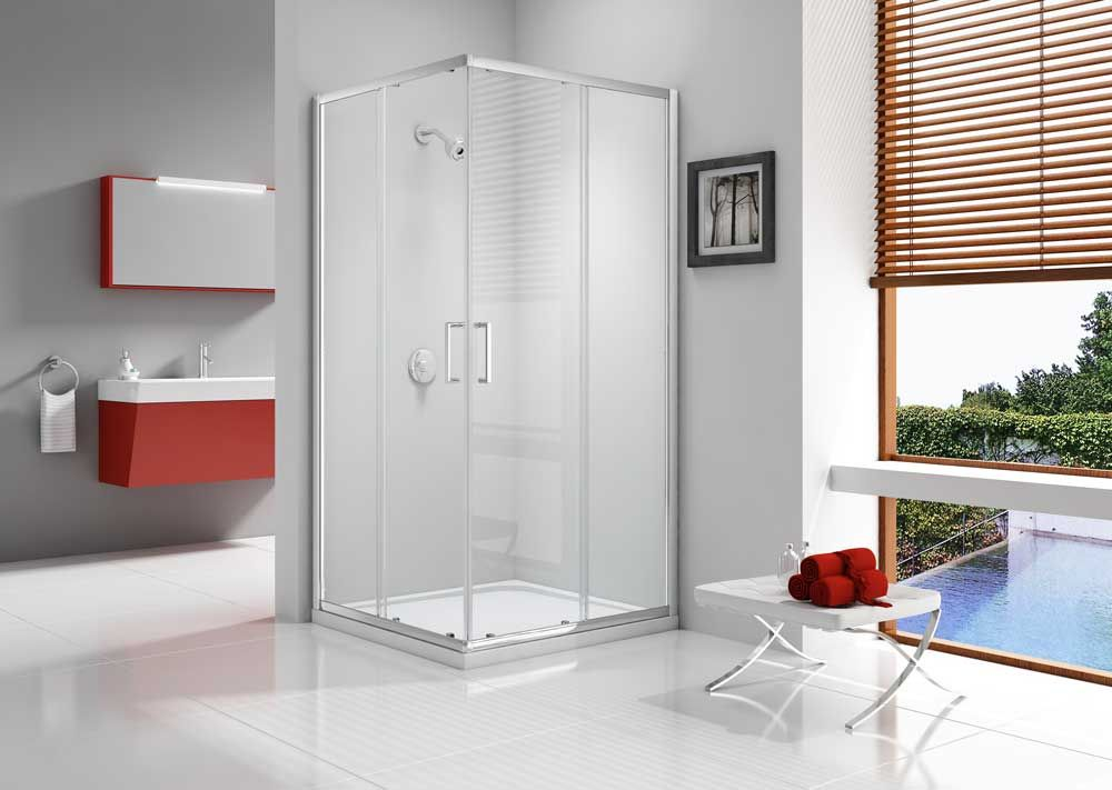 Ionic Express Corner Door Stands At 1900mm High With Mershield Stayclear Coated 6mm Glass Quick Release Rollers For Easy Clean And Do Shower Enclosure Corner Door Home Decor