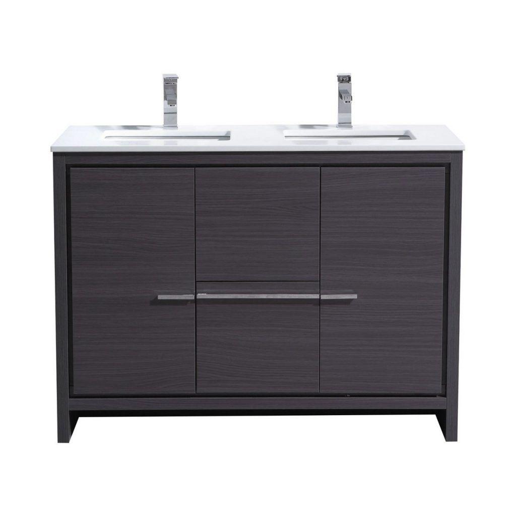 Kubebath Dolce 48 Inch Double Sink Gray Oak Modern Bathroom Vanity