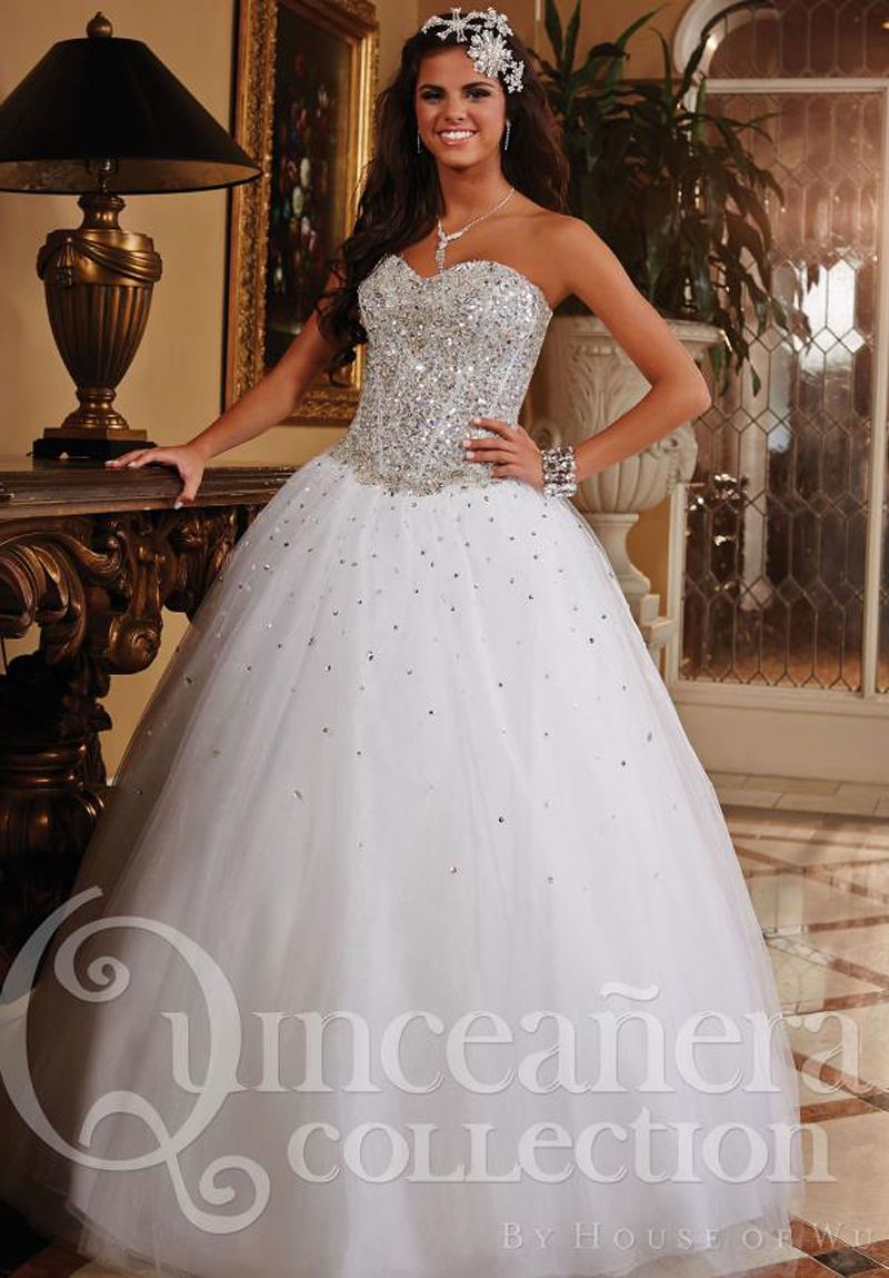b7497569eeb MZ0921 White Tulle Sequins Rhinestones Puffy Custom Made 2014 Quinceanera  Dresses Ball Gowns  186.96