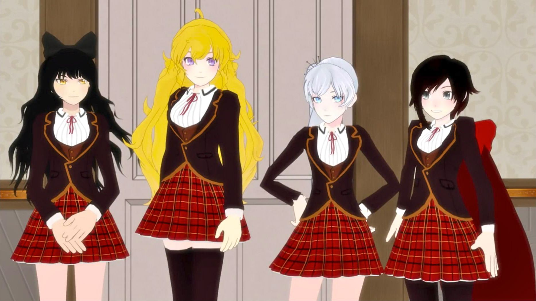 Team Rwby In School Uniform I D Go For Yang Or Ruby Since