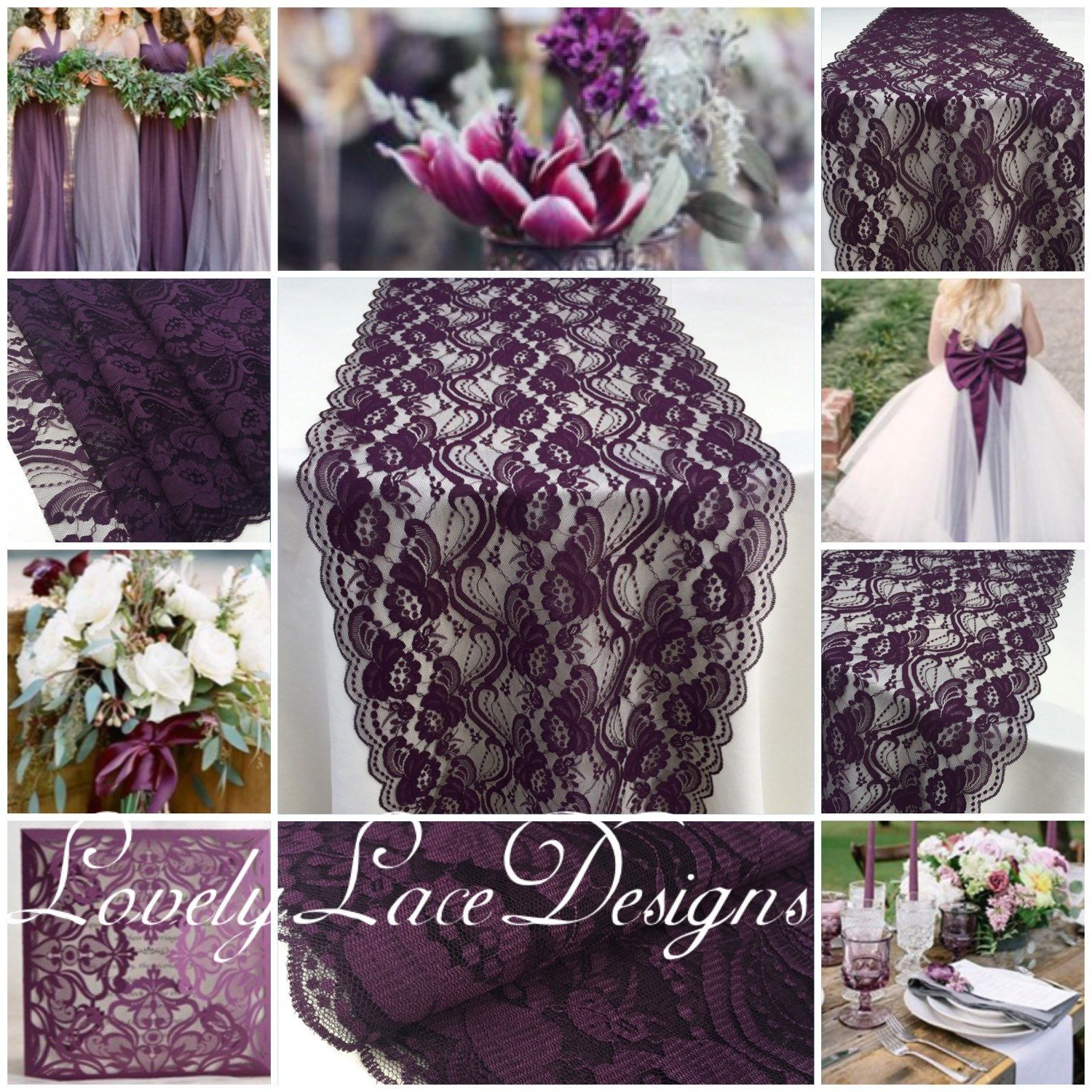 Plum Eggplant Lace Table Runner 12 Wide 3ft 10ft Wedding Decor