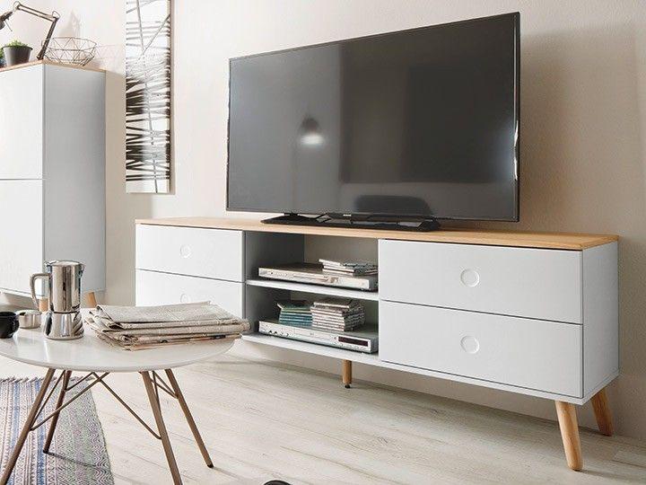 Lovely Einfache Dekoration Und Mobel Moderne Tv Moebel Fuer Das Wohnzimmer #10: JOAN TV Möbel Wohnzimmer Lowboard 162 Eiche U0026 Weiß