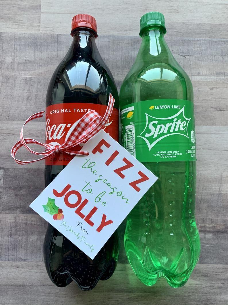 CUSTOM Christmas Neighbor Gifts Soda Pop TAGS Personalized