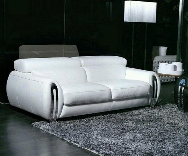White Luxury Leather Materials Modern Sofa Design On The Black Wood  Flooring With Double Rectangle Shaped
