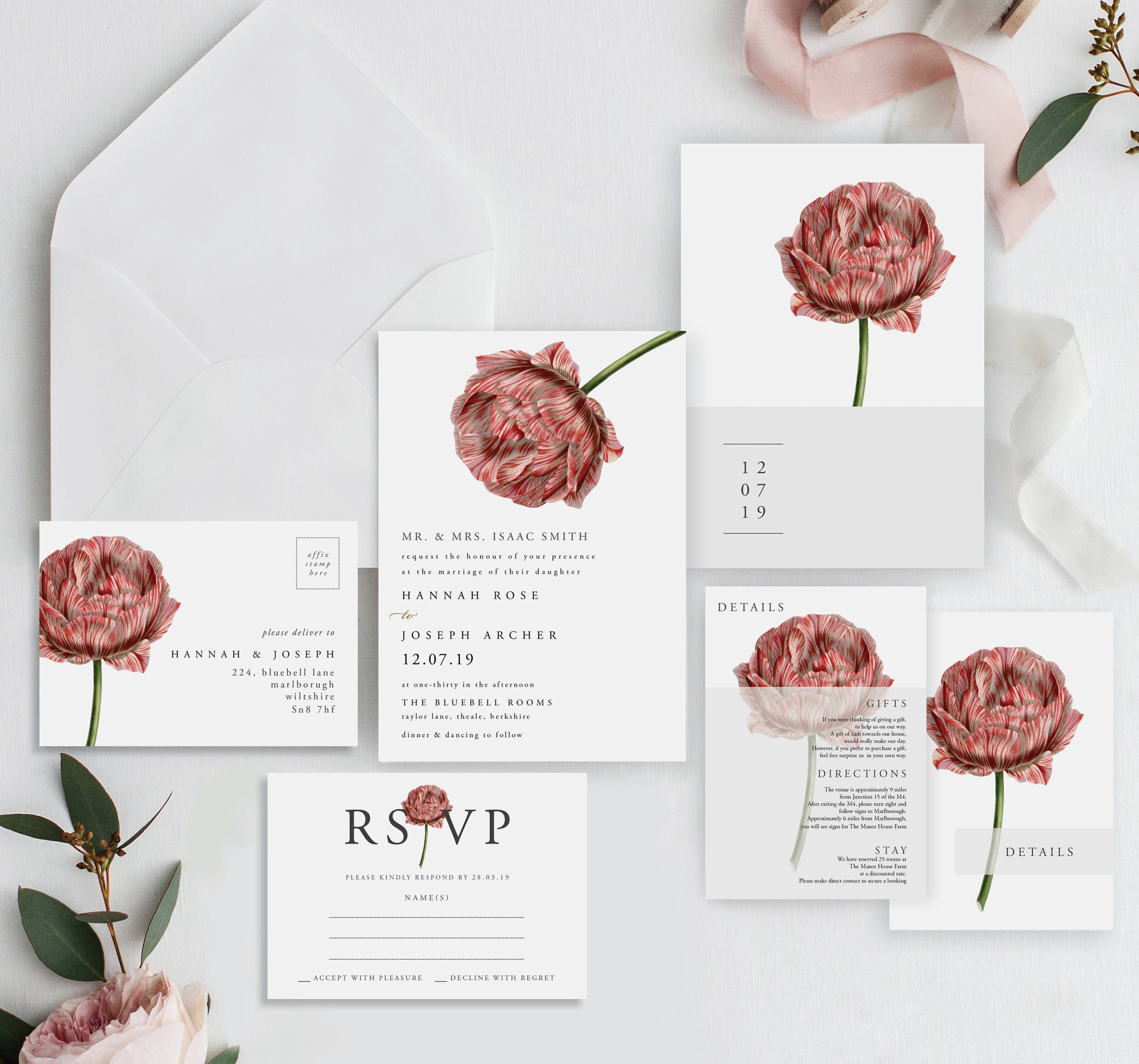 Matilda Modern Botanical Wedding Invitations Wedding Invites