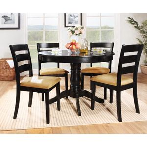 Lexington 5 Piece Round Table Dining Set With Ladder Back Chairs Black