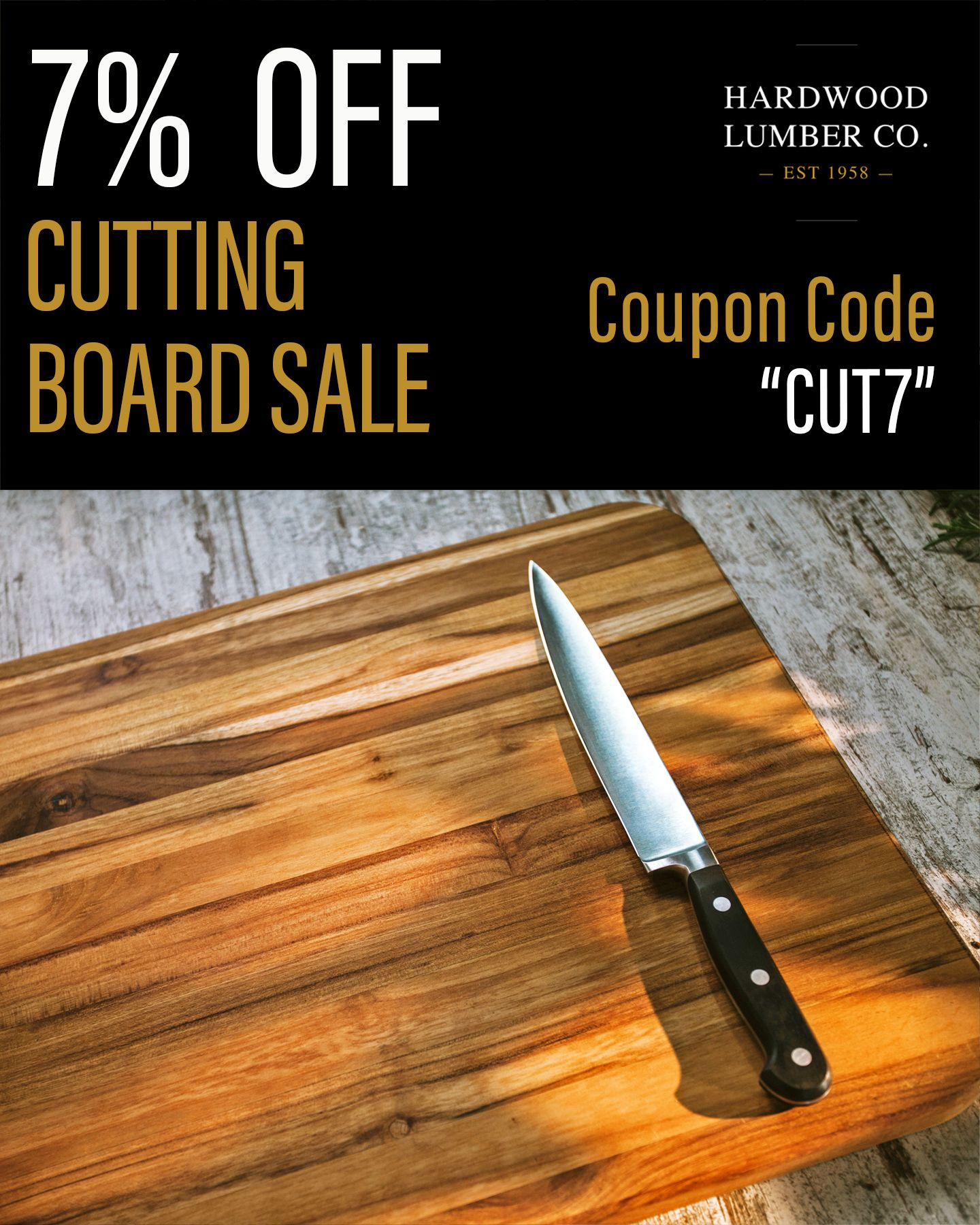 Save 7% on All Cutting Boards with the Coupon Code
