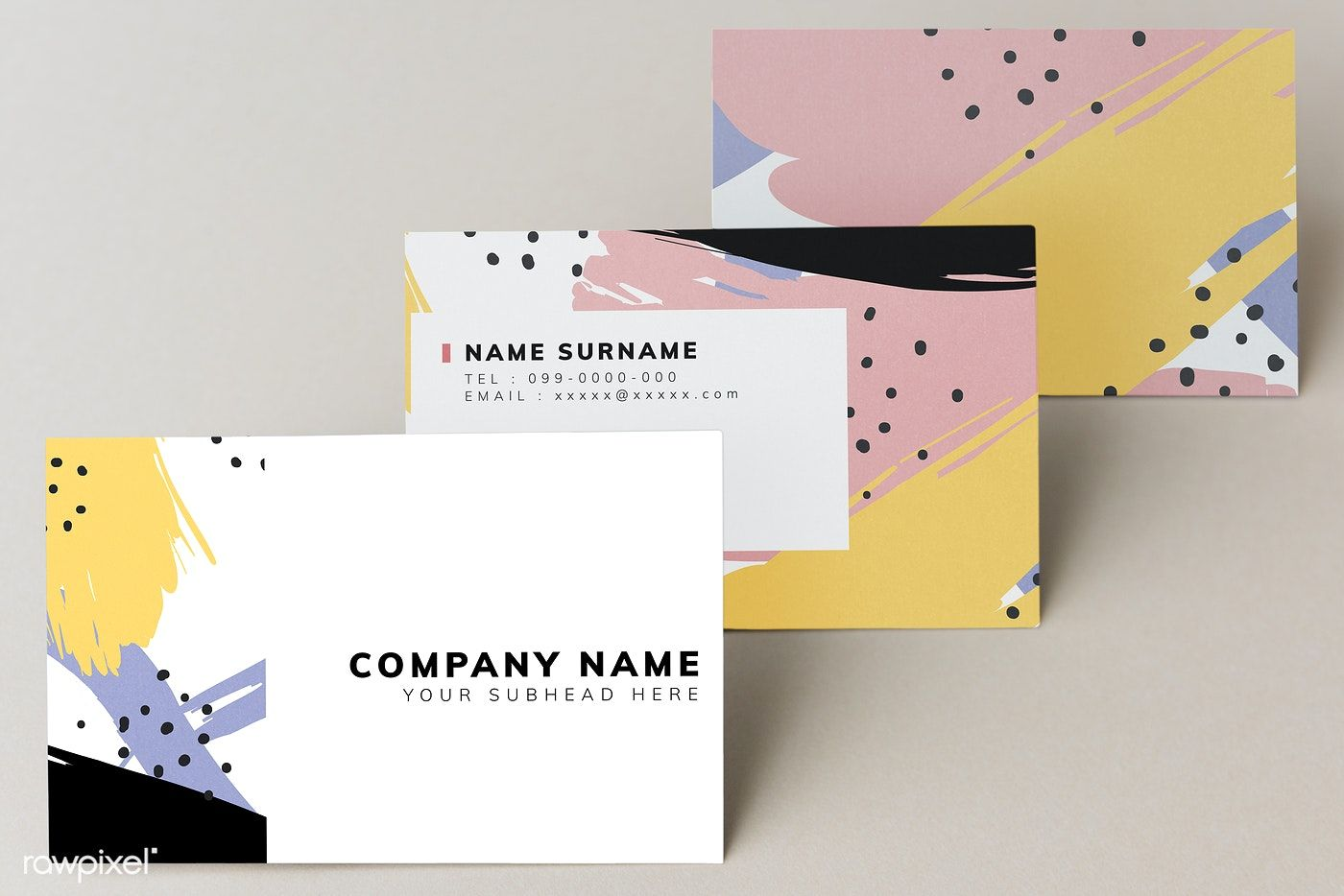 Colorful business card mockup design free image by