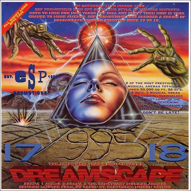 good lord, this was at the height of mid 90s rave graphic design excess.  Some gnarly hands, a woman who looks like she has overdosed, and some lightning scorching the already scorched earth!