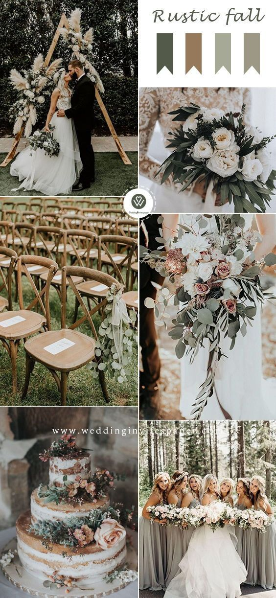 Top 9 Fall Wedding Color Schemes for 2019—sage green rustic weddings, wedding centerpieces,  wedding bouquets, wedding cakes, wedding decorations di…