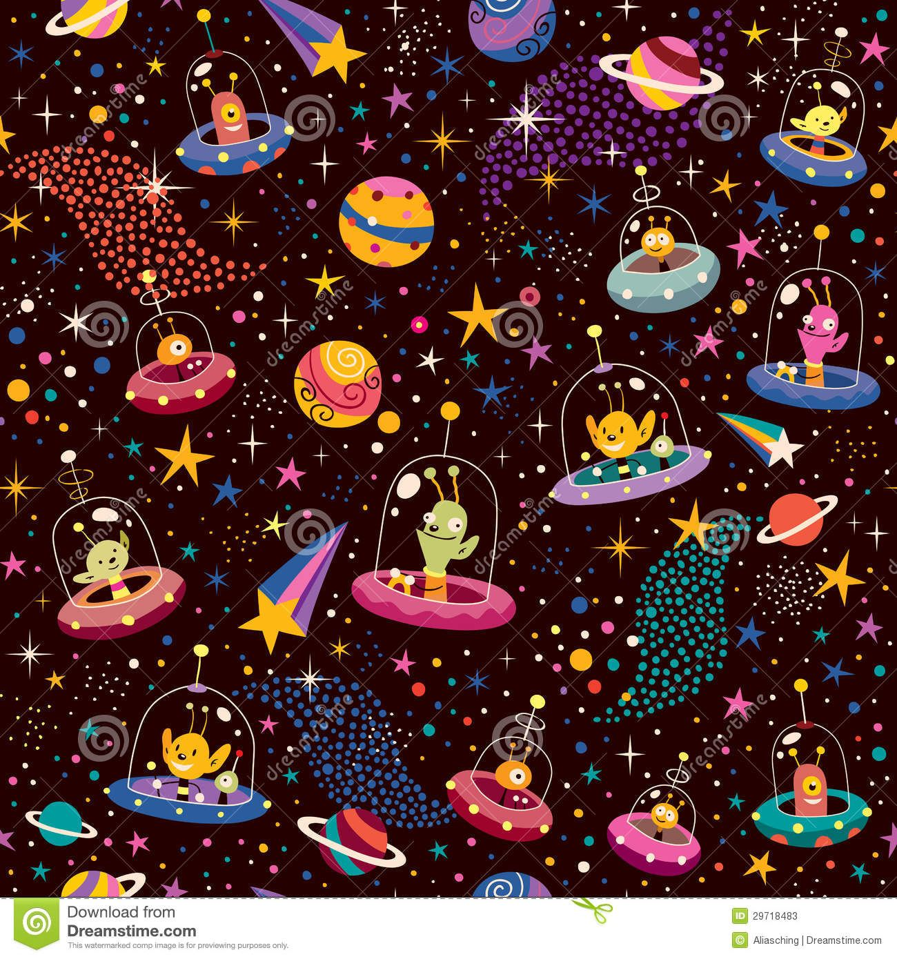 Illustration about Pattern illustration with cute aliens