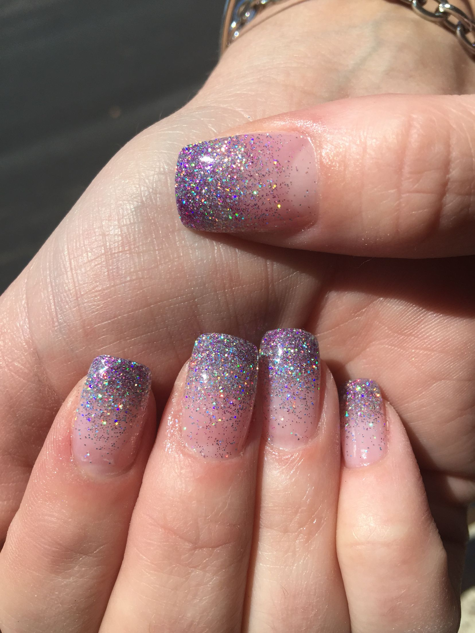 Ombre Nails Glitter With Acrylic Powder