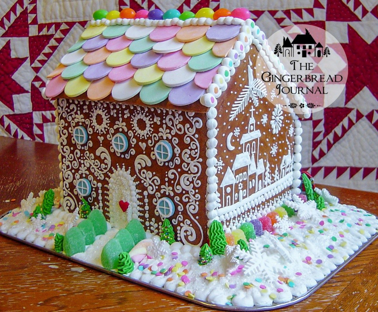 Gingerbread House Christmas Necco Wafer Roof Gingerbread