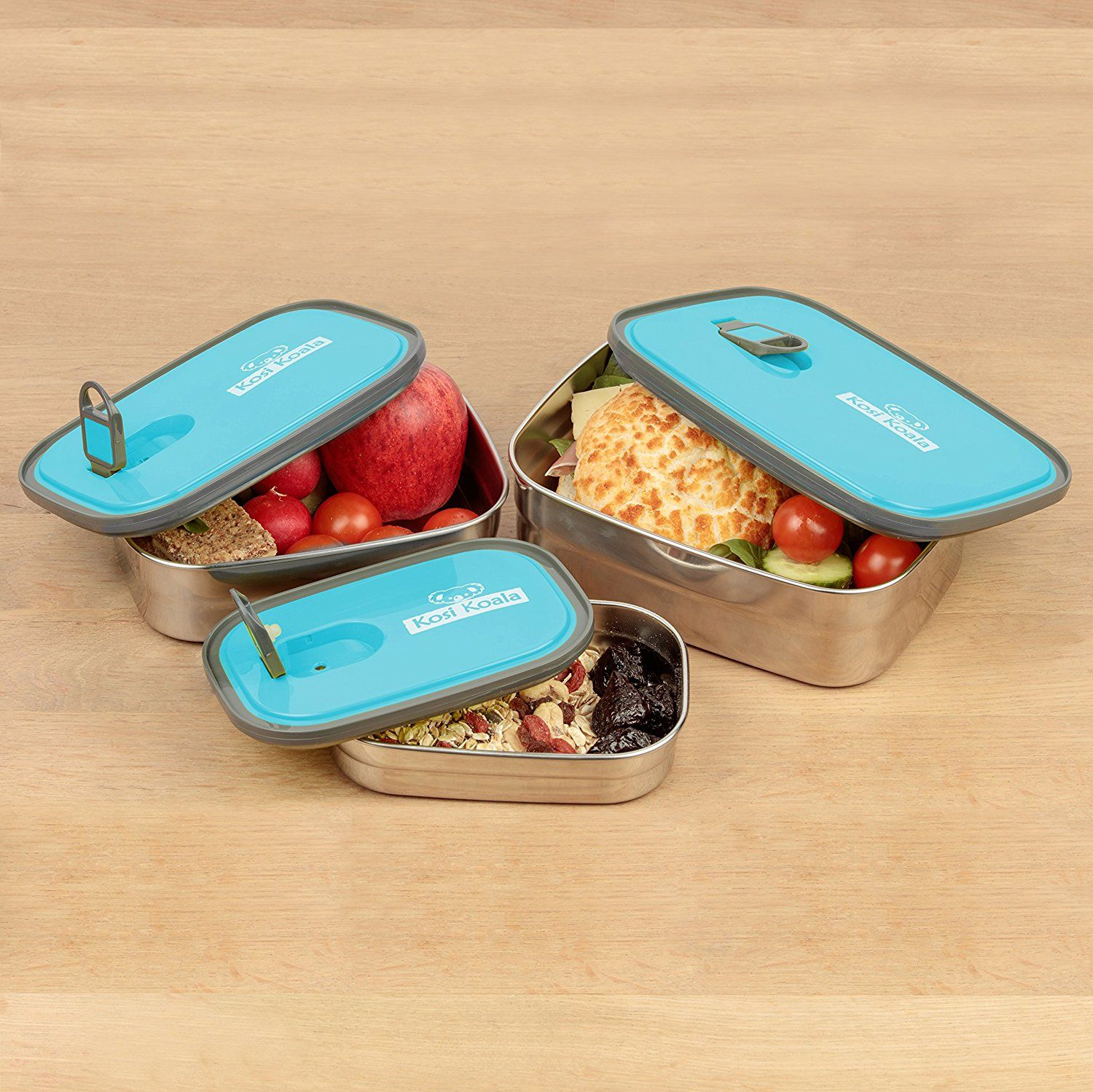 Bento Lunch Box Stainless Steel Food Containers Blue Set Of 3 Best