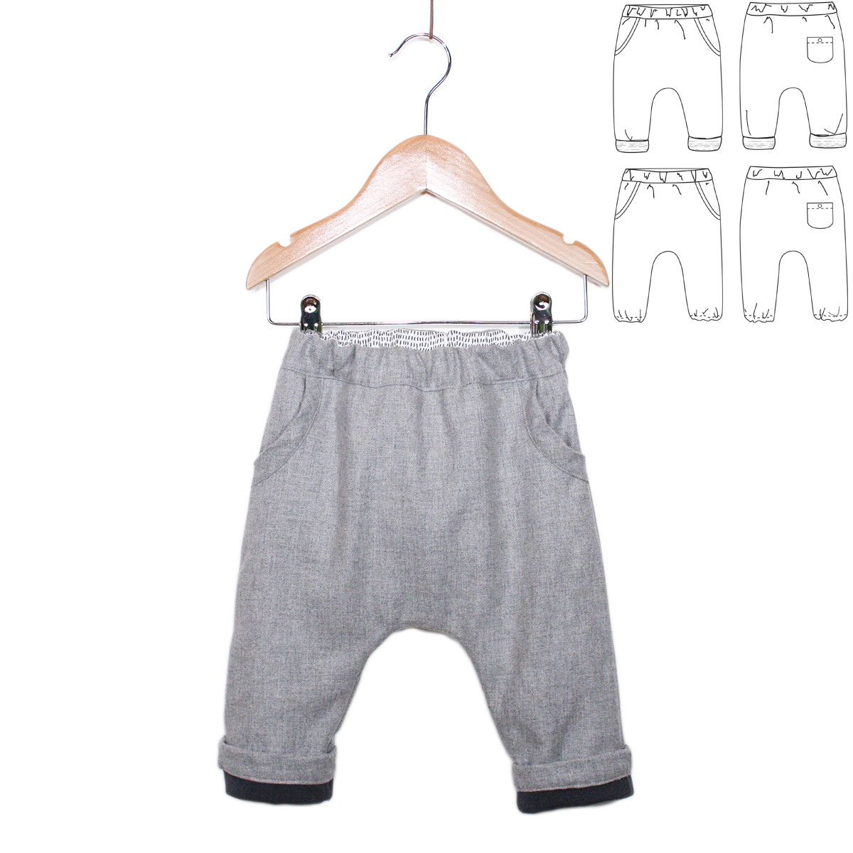 Sevilla unisex harem pants - Baby 1M/4Y - PDF Sewing Pattern