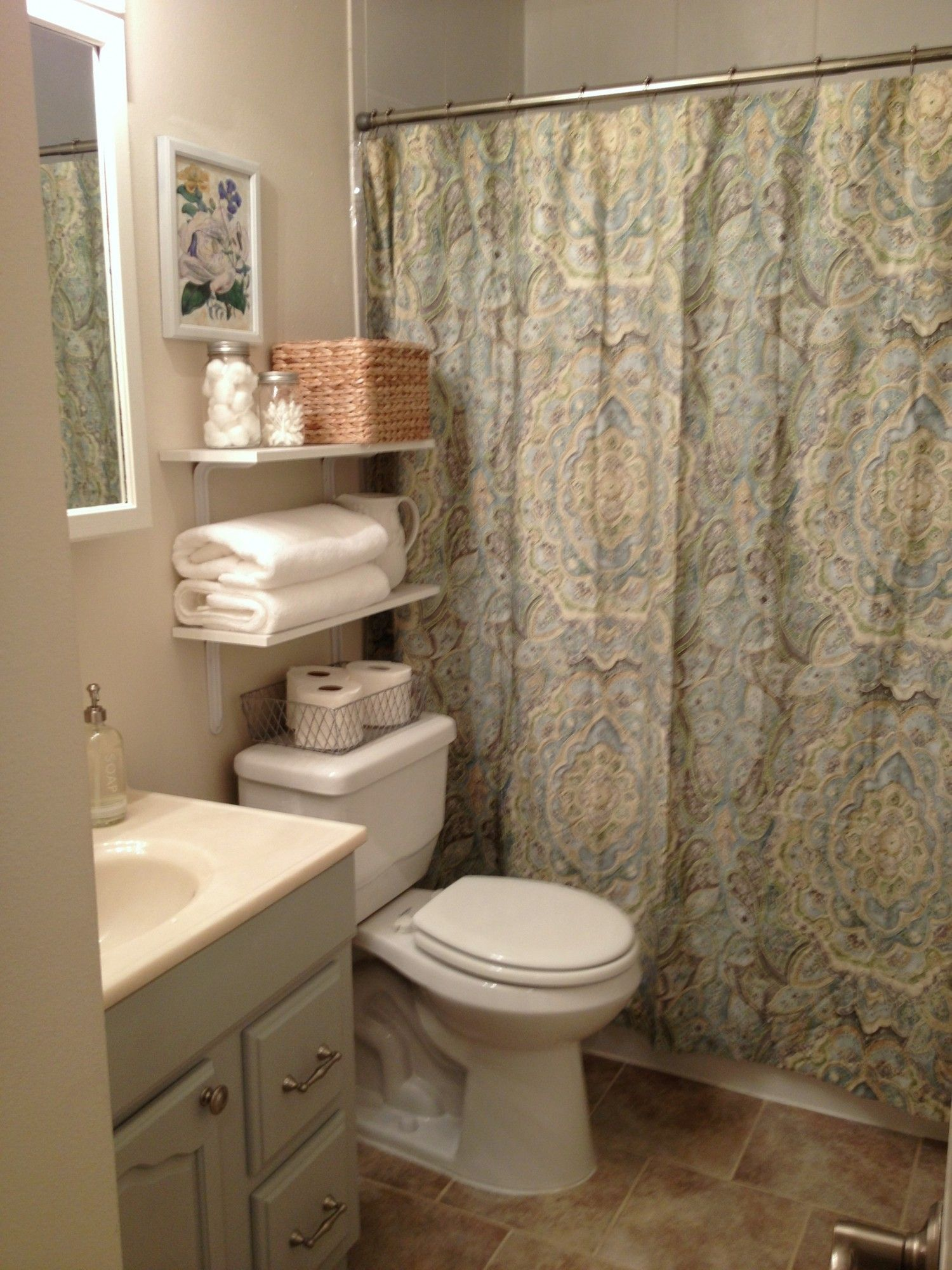 small bathroom design idea with floral shower curtain astounding white vanity stunning and oval washbasin also vintage toilet seat wall mount shelves mirror