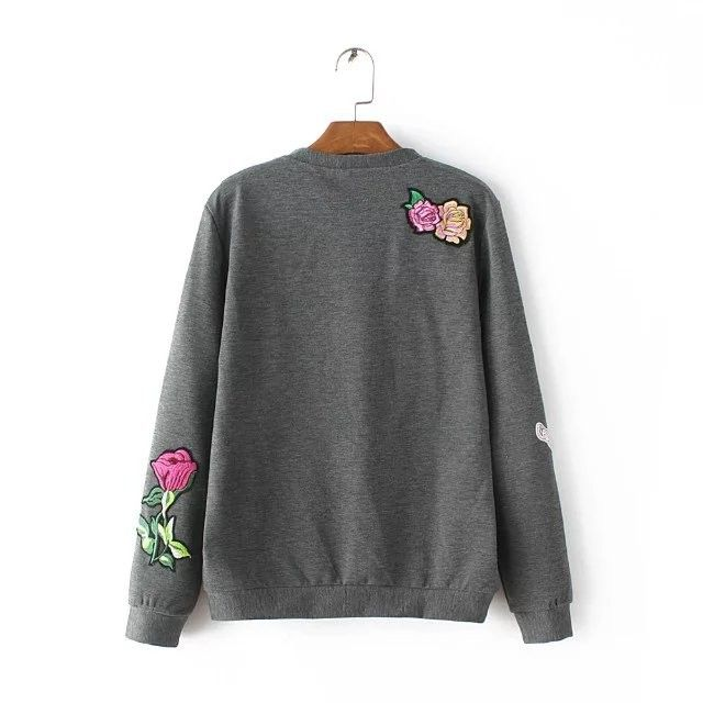 Tangada Fashion 2016 Appliques Gray Pullovers For Women Casual O Neck Long Sleeve Autumn Brand Hoodie Sweatshirts For Lady TC53-in Hoodies & Sweatshirts from Women's Clothing & Accessories on Aliexpress.com | Alibaba Group