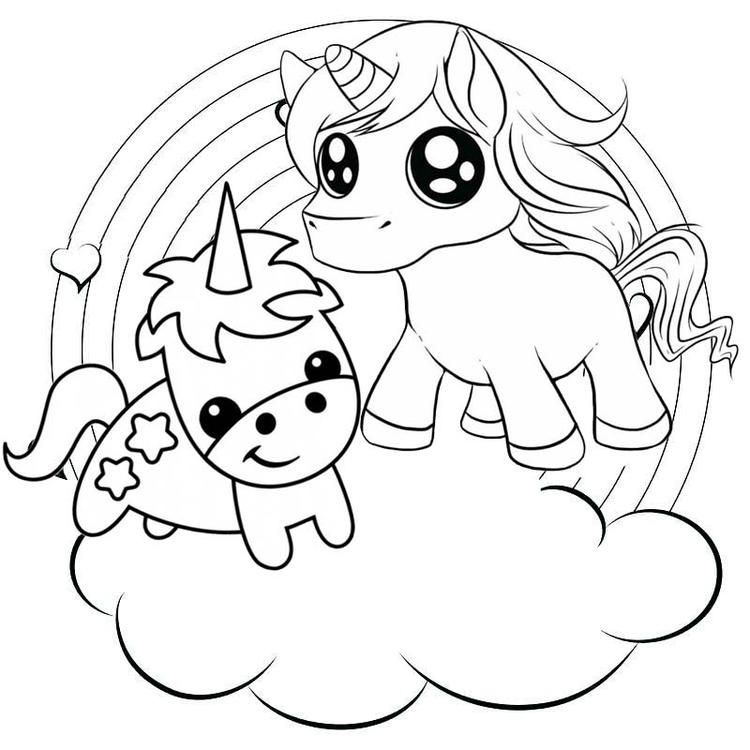 Rainbow Two Baby Unicorns Coloring Pages | Unicorn ...