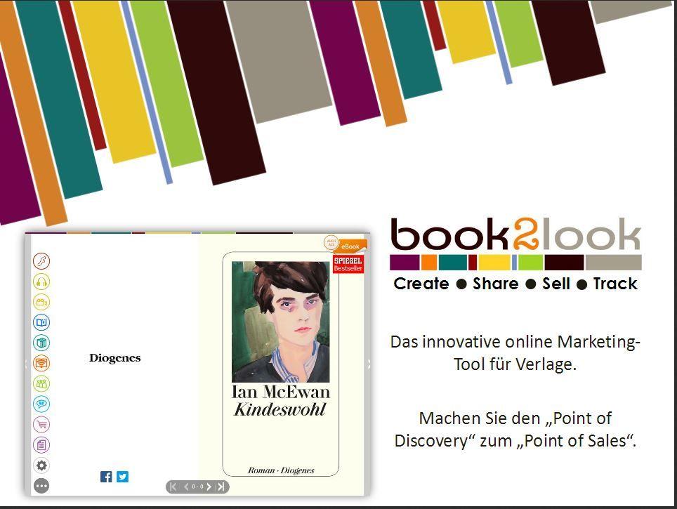 """book2look Create, Share, Sell, Track ::  Das innovative online Marketing Tool für Verlage.  Machen Sie den """"Point of Discovery"""" zum """"Point  of Sales """"."""