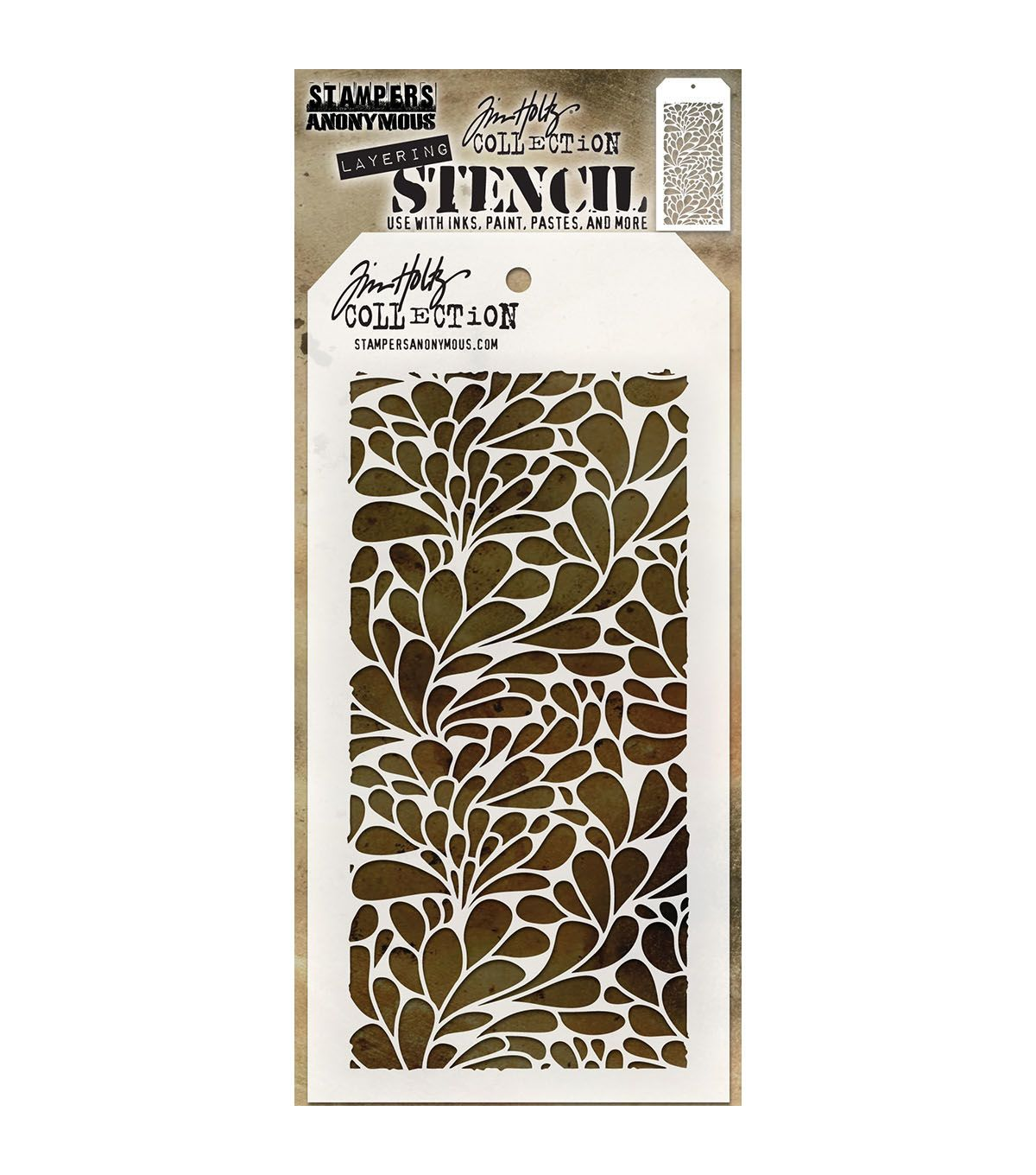 "Layering Stampers Anonymous Tim Holtz Layered Stencil 4.125/""x8.5/""-splash"
