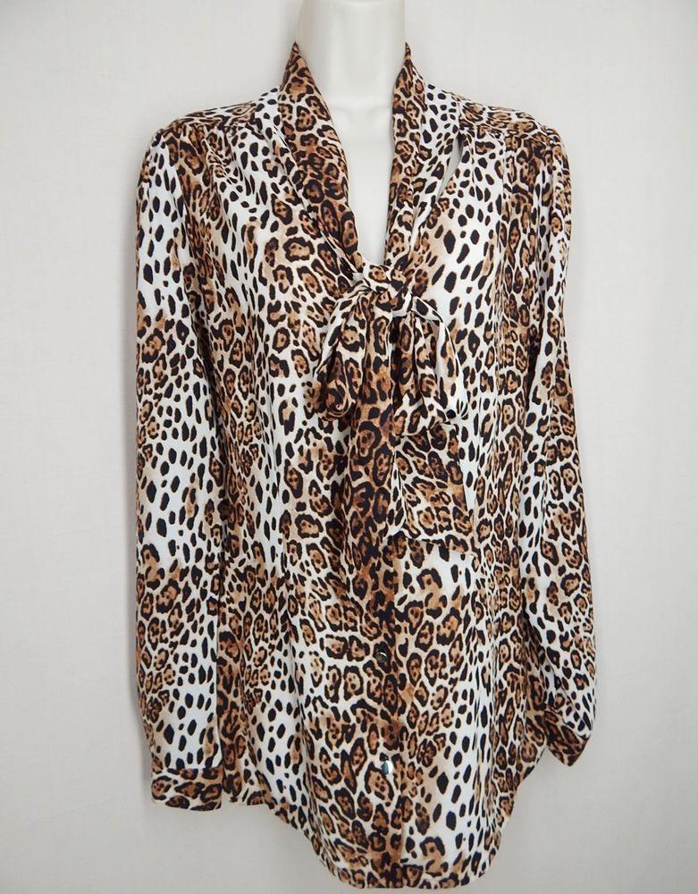 0b1af029 WHITE HOUSE BLACK MARKET Size 12 Leopard Print Tie Front Shirt # WhiteHouseBlackMarket #Blouse