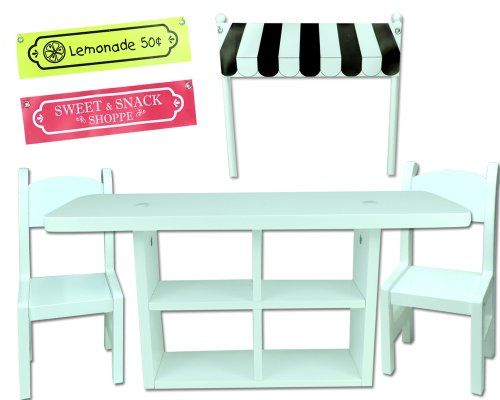 18 Inch Doll Concession Table Painted White, 2 White Chairs U0026 3  Interchangeable Signs/