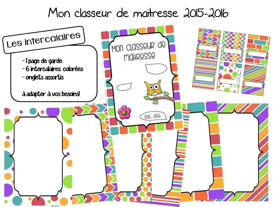 Decoration Porte Classe Chouette : Mon classeur de maitresse version page garde
