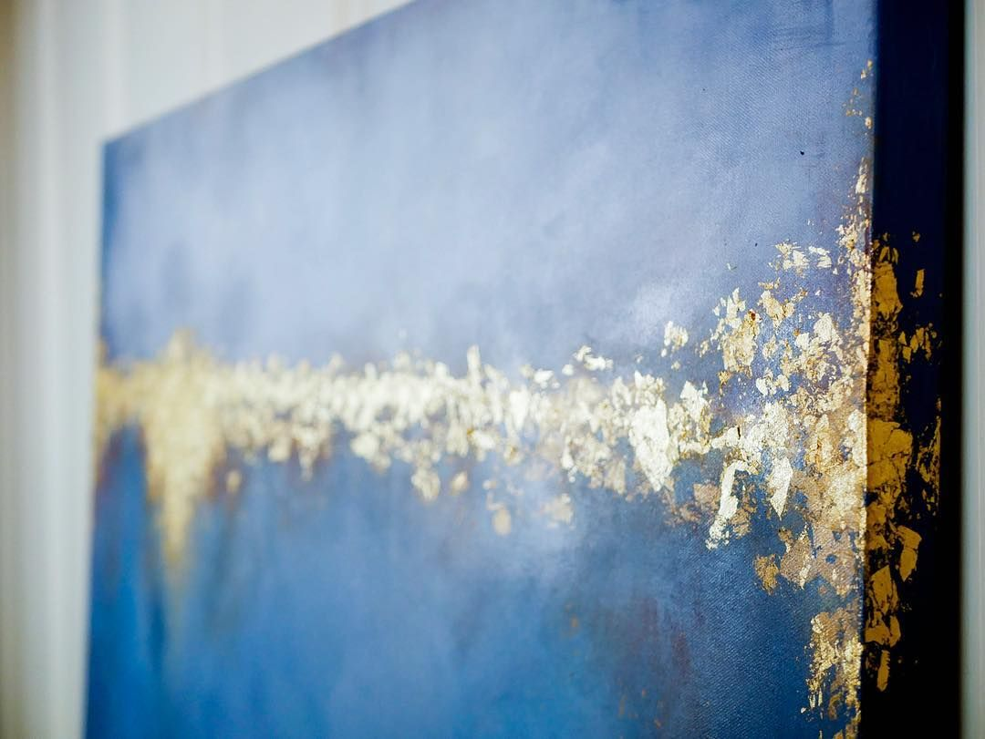 RAGAN MADE   Blue and Gold Abstract Painting Gold Leaf, Navy Blue ...