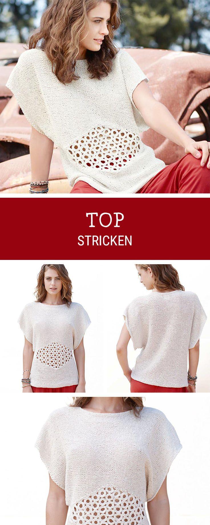 Cooles Top stricken mit Häkeleinsatz, Mode stricken für den Sommer / knitting a summerly top with crochet elements via DaWanda.com #crochetelements