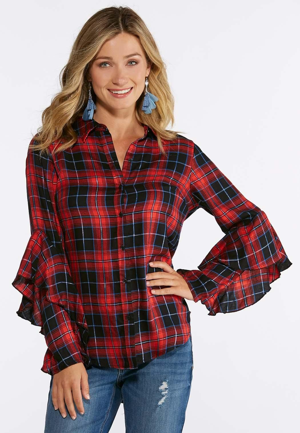 e4459bc837089 Plus Size Ruffled Plaid Shirt Give your girl-next-door style a little  feminine flair with this lightweight woven top