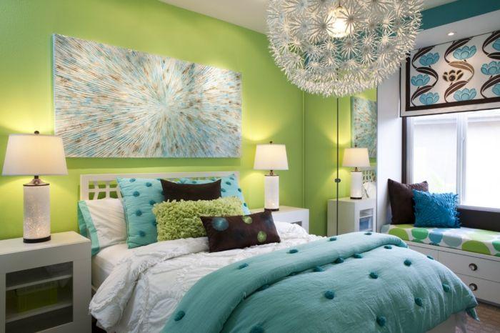 ▷ 1001+ designs stupéfiants pour une chambre turquoise - peindre un lit en bois