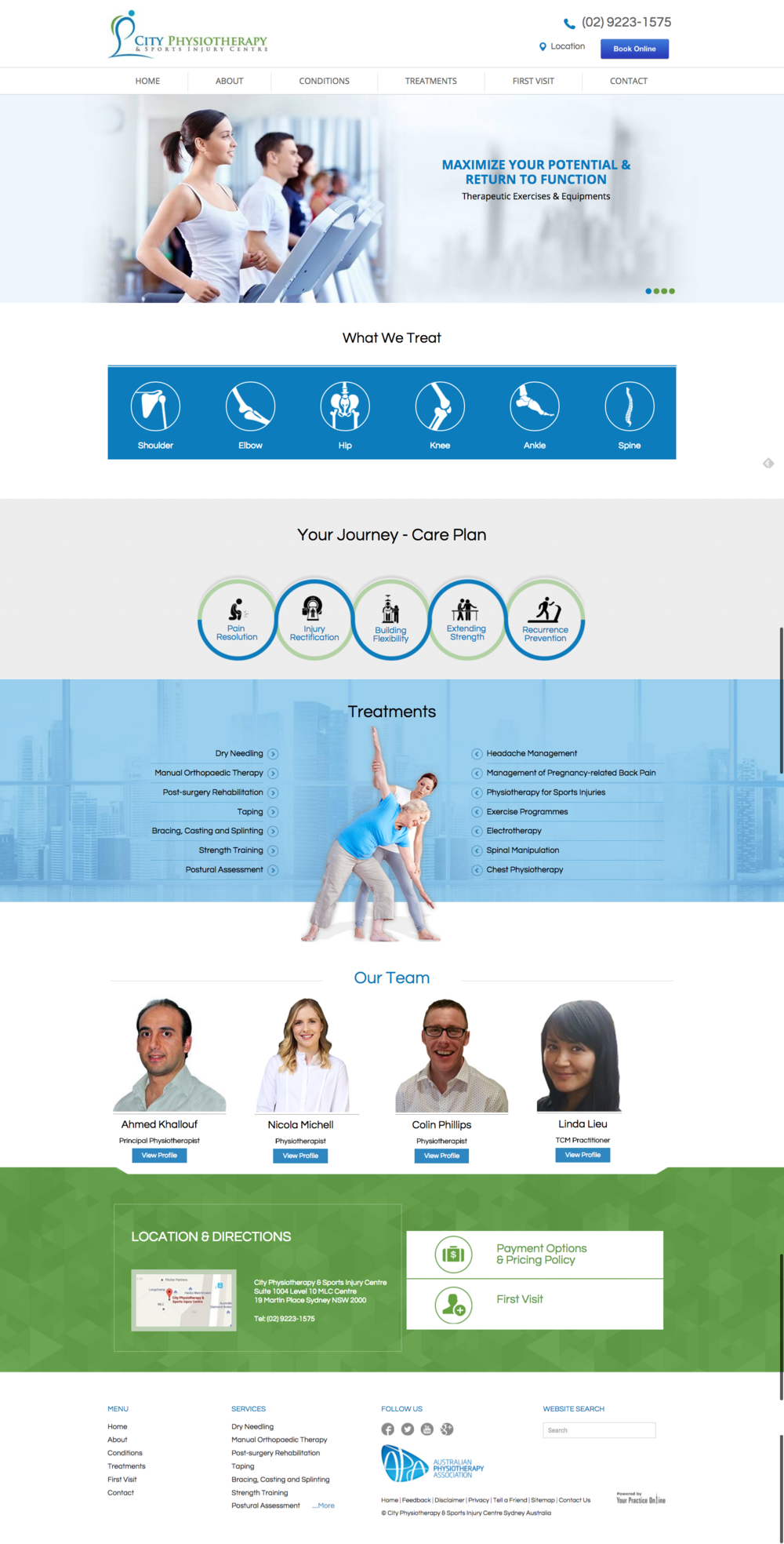 Physiotherapist Website Redesign Sports, Medical