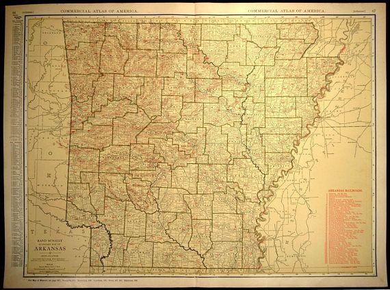 Arkansas Map EXTRA LARGE Arkansas Railroad Map Wall Art   Map Wall ...
