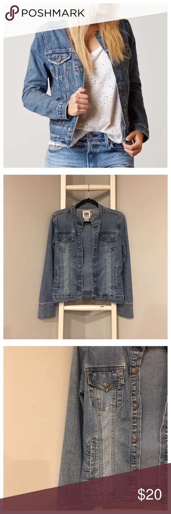 Nikki S Denim Collarless Blue Jean Jacket M S Blue Jean Jacket Jackets Clothes Design [ 1740 x 580 Pixel ]