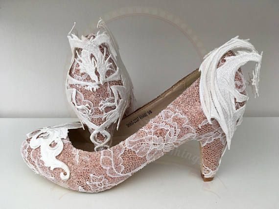 Rose Gold Glitter Lace Dragon Shoes Mid Heel Bridal Wedding