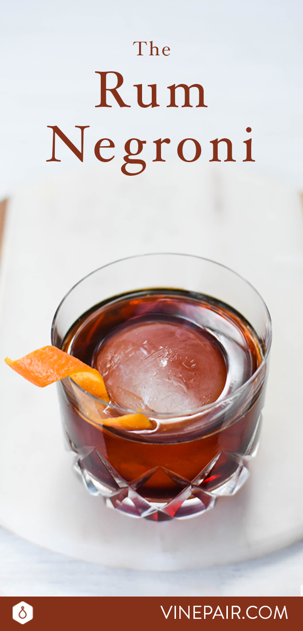 Recipe: Rum Negroni  Ingredients: - 1 ounce dark rum - 1 ounce Campari - 1 ounce sweet vermouth