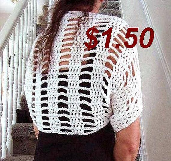 CROCHET PATTERN, shrug pattern, crochet for women- flower pattern ...