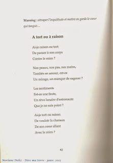 Poème extrait de Dire ma terre, janvier 2015.