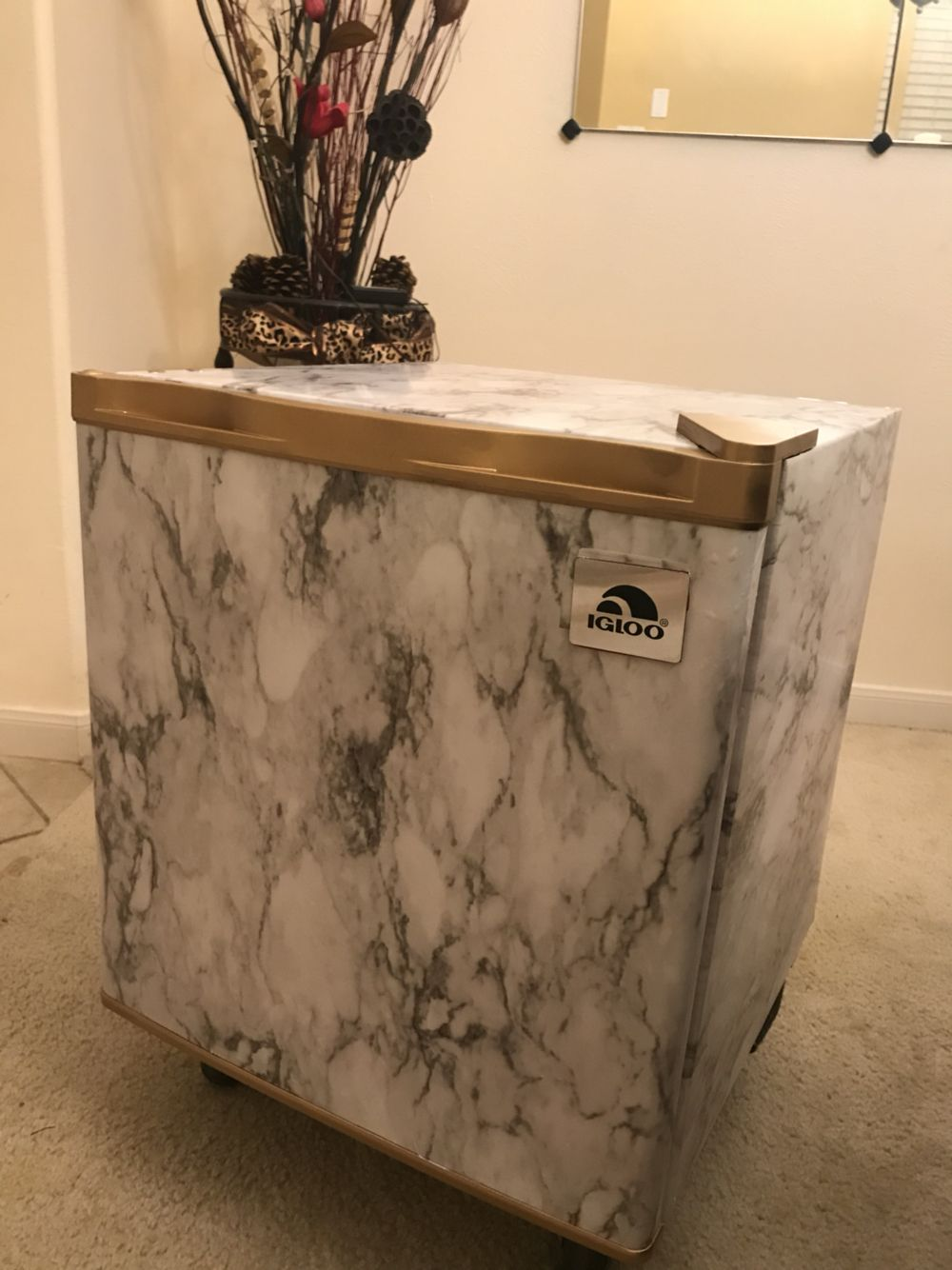 Marble contact paper and gold painted accents