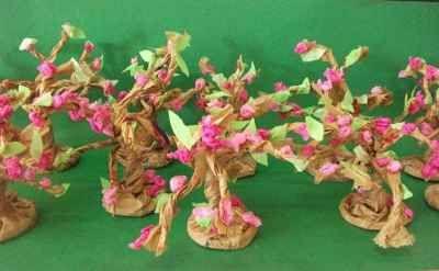 """El """"hanami"""" japonés llega a clase. Cómo preparar cerezos en flor con bolsas de papel reciclado"""