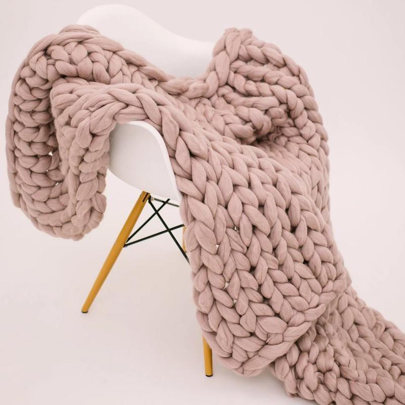Blush merino wool throw in 2020 knitted blankets