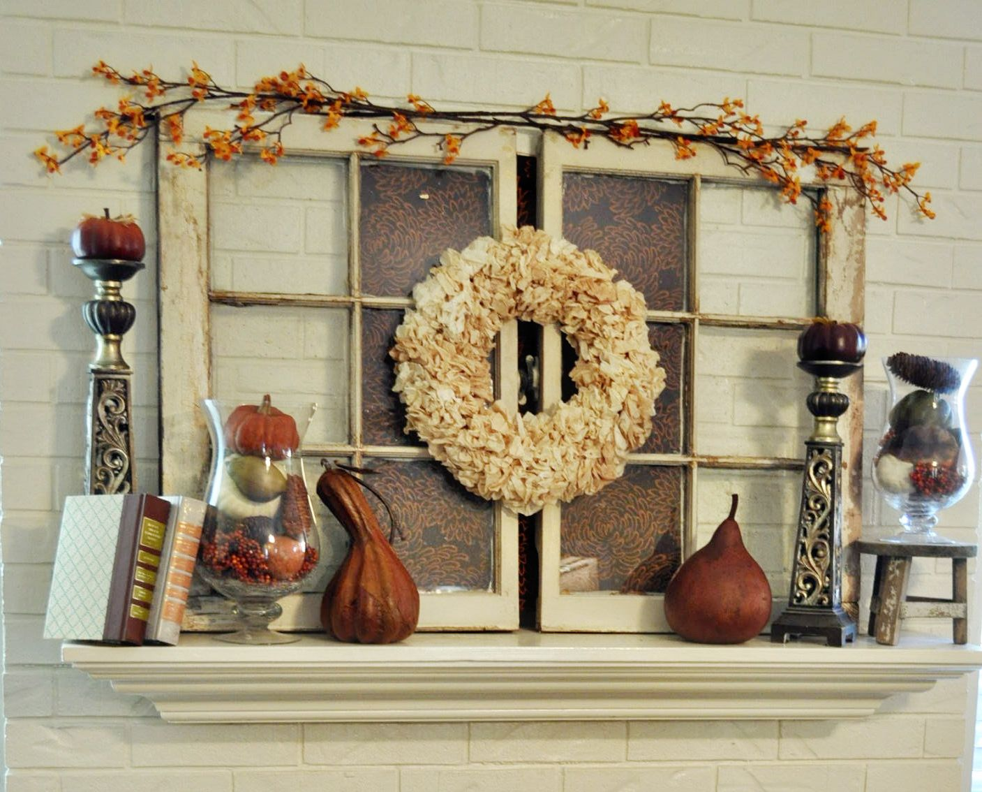 Window decor for fall  rustic look  fall  pinterest  mantels and display