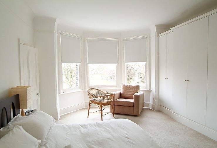 White Bedroom Interior Design of Victorian House in Bromley London