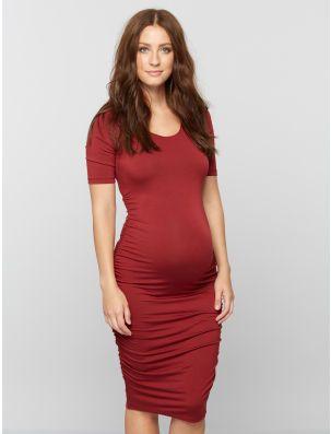 ad1d08e8c5a Side Ruched Maternity Dress- Wine