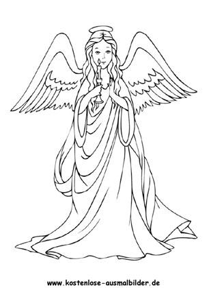 Ausmalbild Engel zum kostenlosen Ausdrucken und Ausmalen