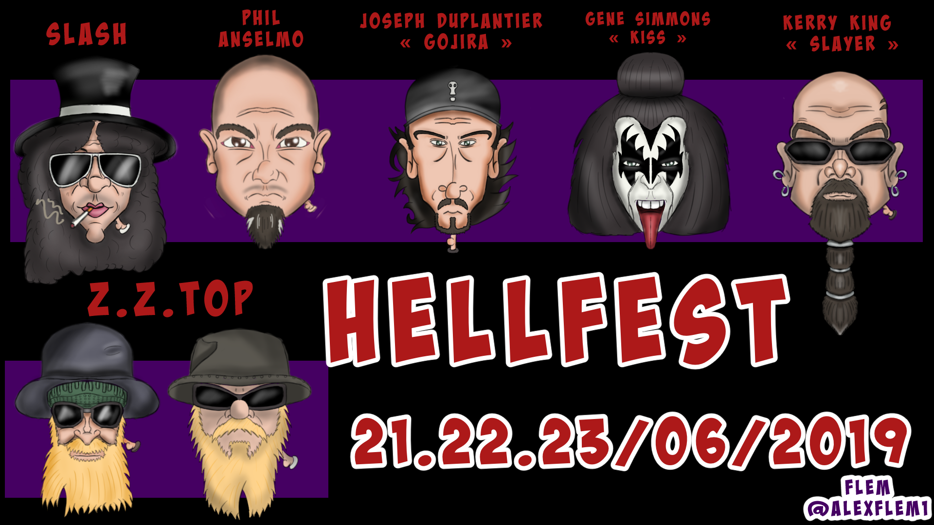 Hellfest Toon Slash Phil Anselmo Gojira Kiss Slayer Z Z Top Hellfest