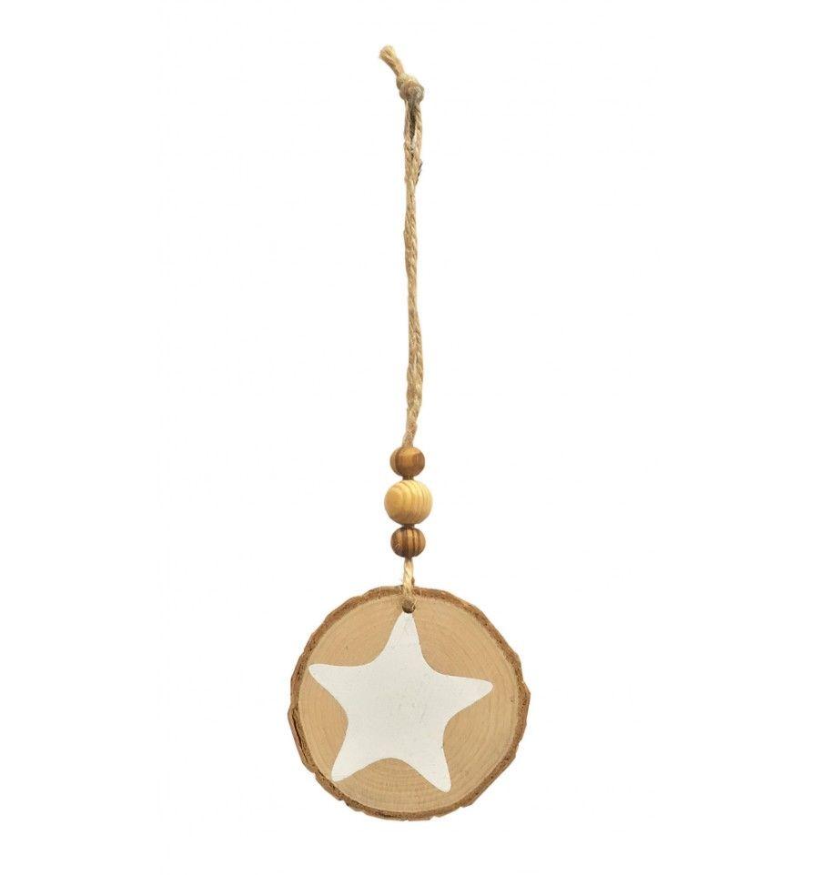 Colgante adorno rodaja tronco Estrella blanca